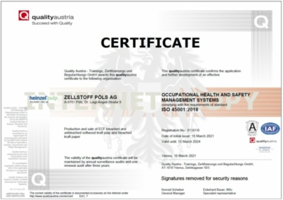 ISO 45001 certificate: Occupational Health and Safety Mangement System (391.6 KB)