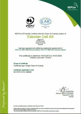 PEFC sertifikaat estonian Cell AS (193,2 KB)