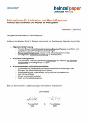 Allgemeine Unterweisung und Hinweis zu Covid-19 Schutz- und Hygienemaßnahmen (71,7 KB)